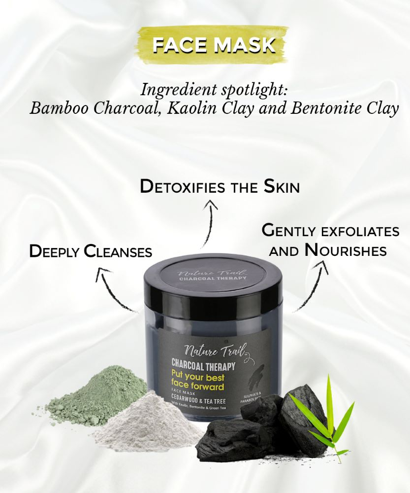 This is an image of the nature trail charcoal face therapy mask for combination skin on www.sublimelife.in