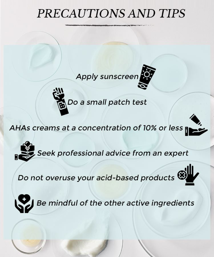 This is an image showing precautions and tips of using acids AHAs and BHAs in your skincare routine.