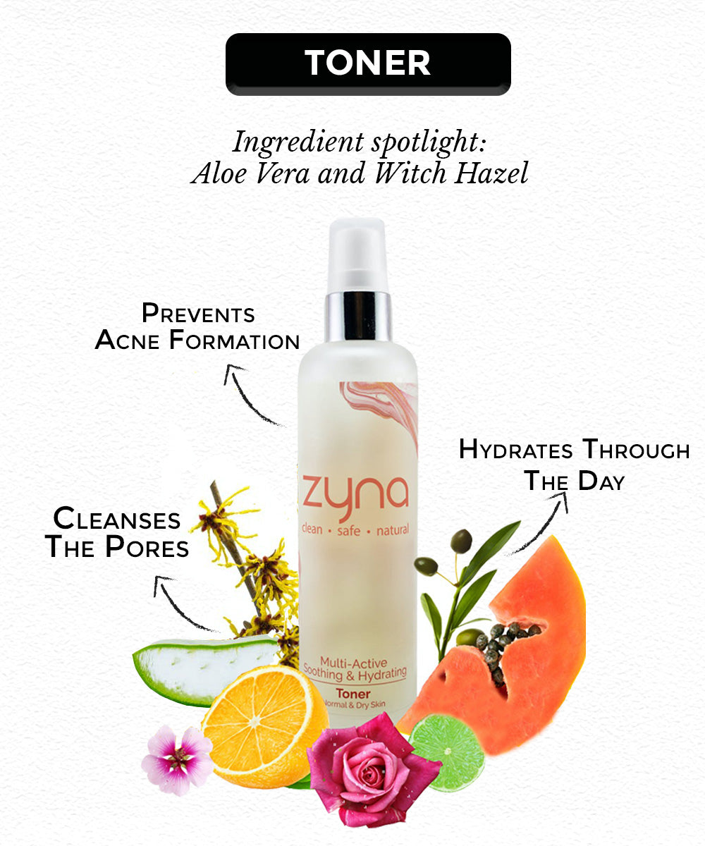 This is an multi toner for hydration from the brand Zyna for dry skin care routine on sublimelife.in