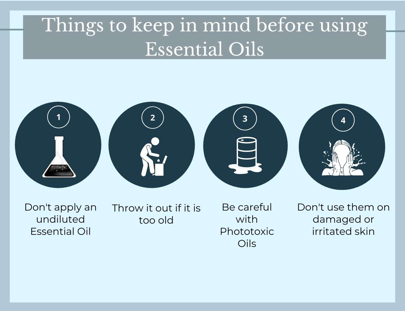 This is an image showing what to keep in mind before using Essential Oils.