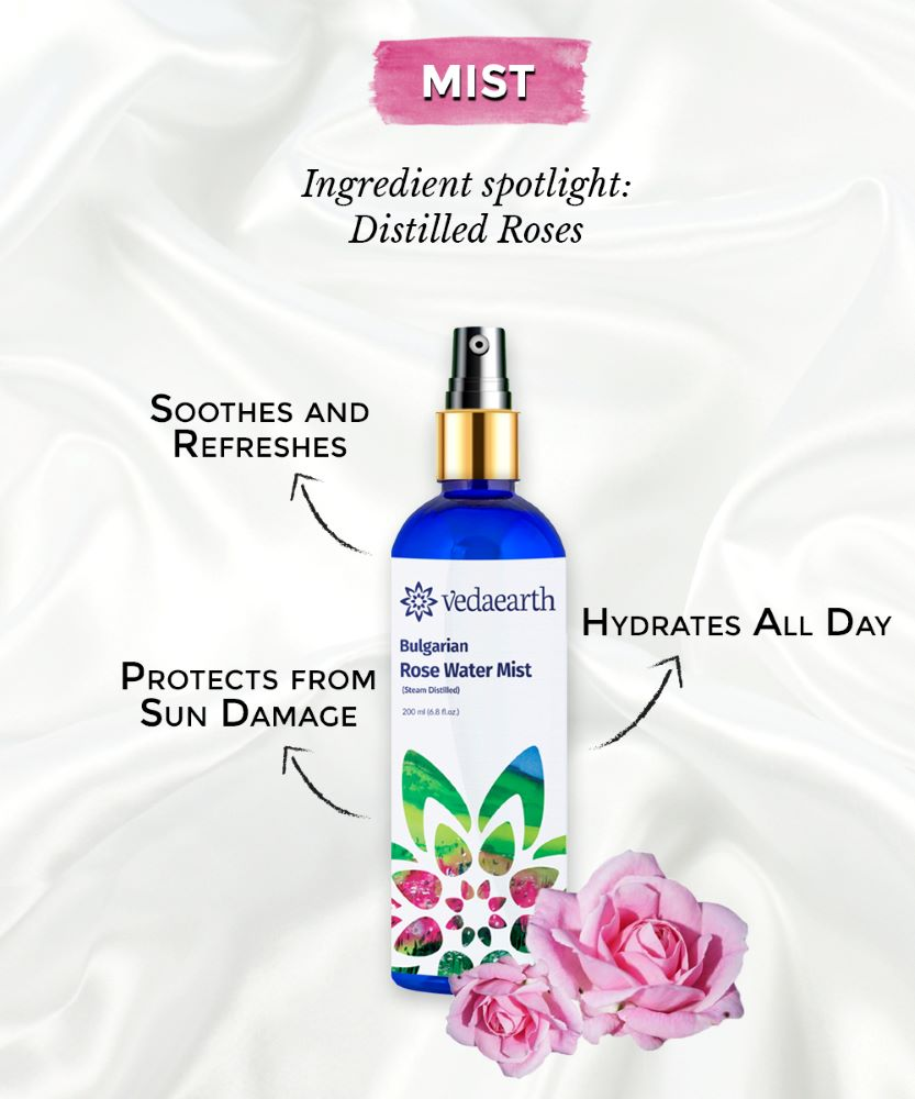 This is an image of the rose facial mist by vedaearth for combination skin by www.sublimelife.in