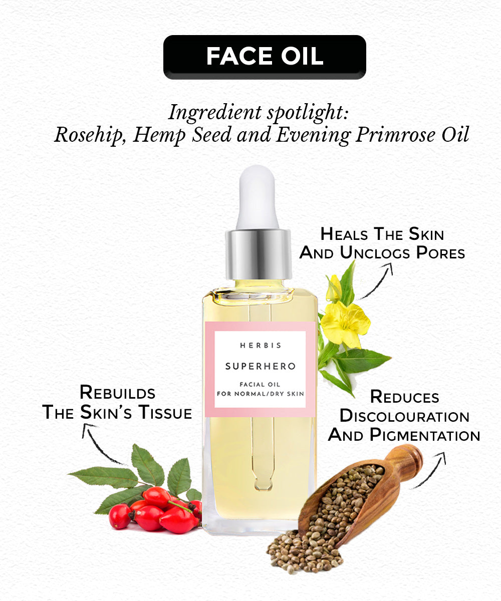 this is a face oil with hemp oil, rosehip oil and primrose oil for dry skin from the brand Herbis Botanicals on sublimelife.in
