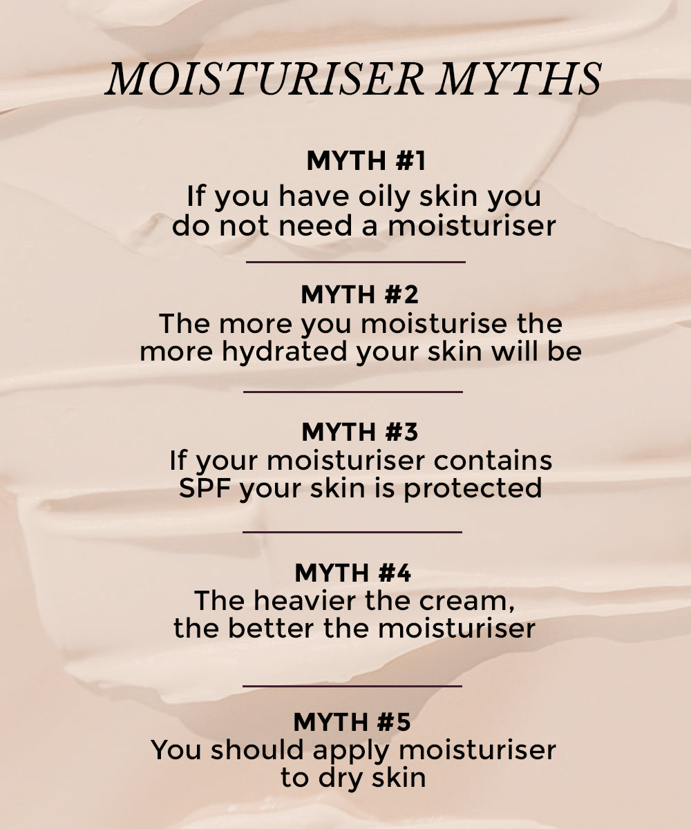 This image shows common myths about moisturiser in skincare.