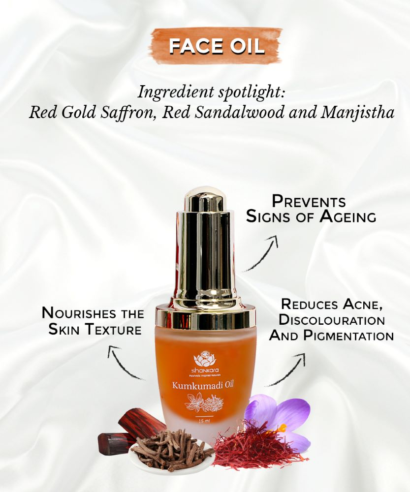 this is an image of the shankara kumkumadi oil for combination skin type on sublimelife.in