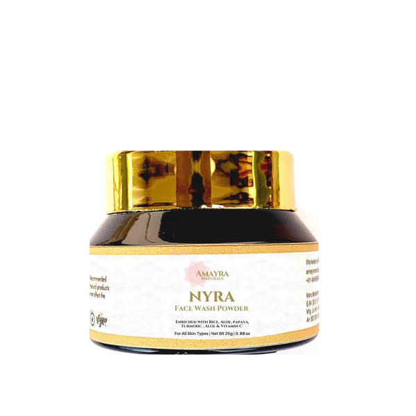 This is an image of Amayra Naturals Nyra Rice Face Wash Powder on www.sublimelife.in