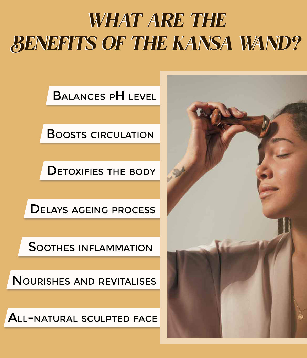This is an image of the benefits of the Kansa Wand by Shankara, available on www.sublimelife.in
