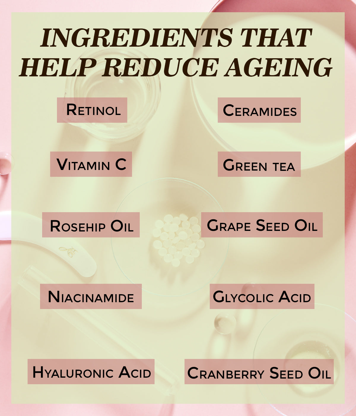 This is an image of ingredients that help reduce ageing on www.sublimelife.in