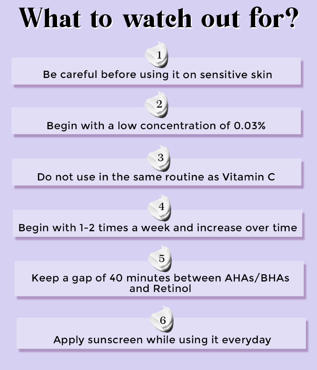 this is an image of what to watch out for when using retinol in skincare on www.sublimelife.in