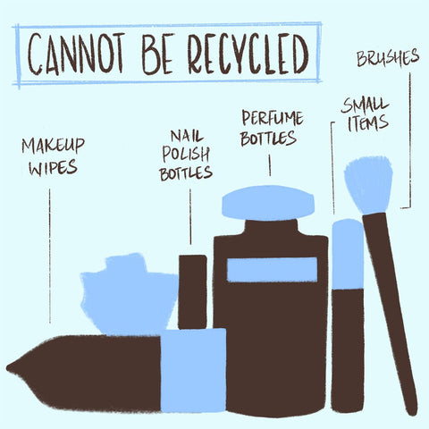 This is an image showing beauty empties that cannot be recycled.
