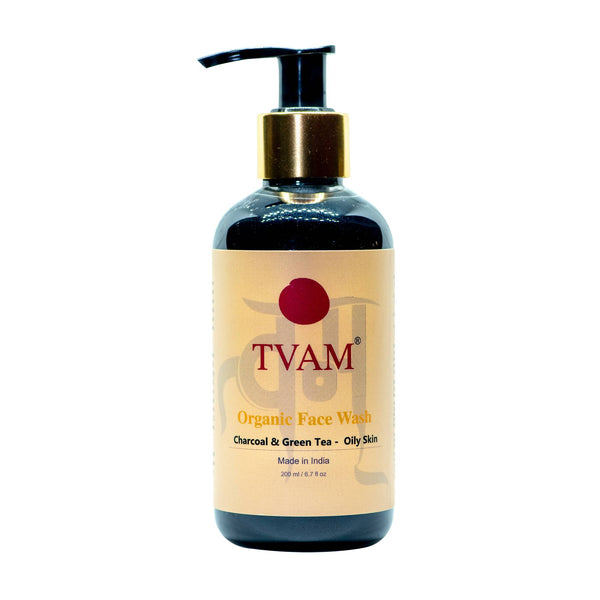 This is an image of Tvam Charcoal And Green Tea Face Wash on www.sublimelife.in
