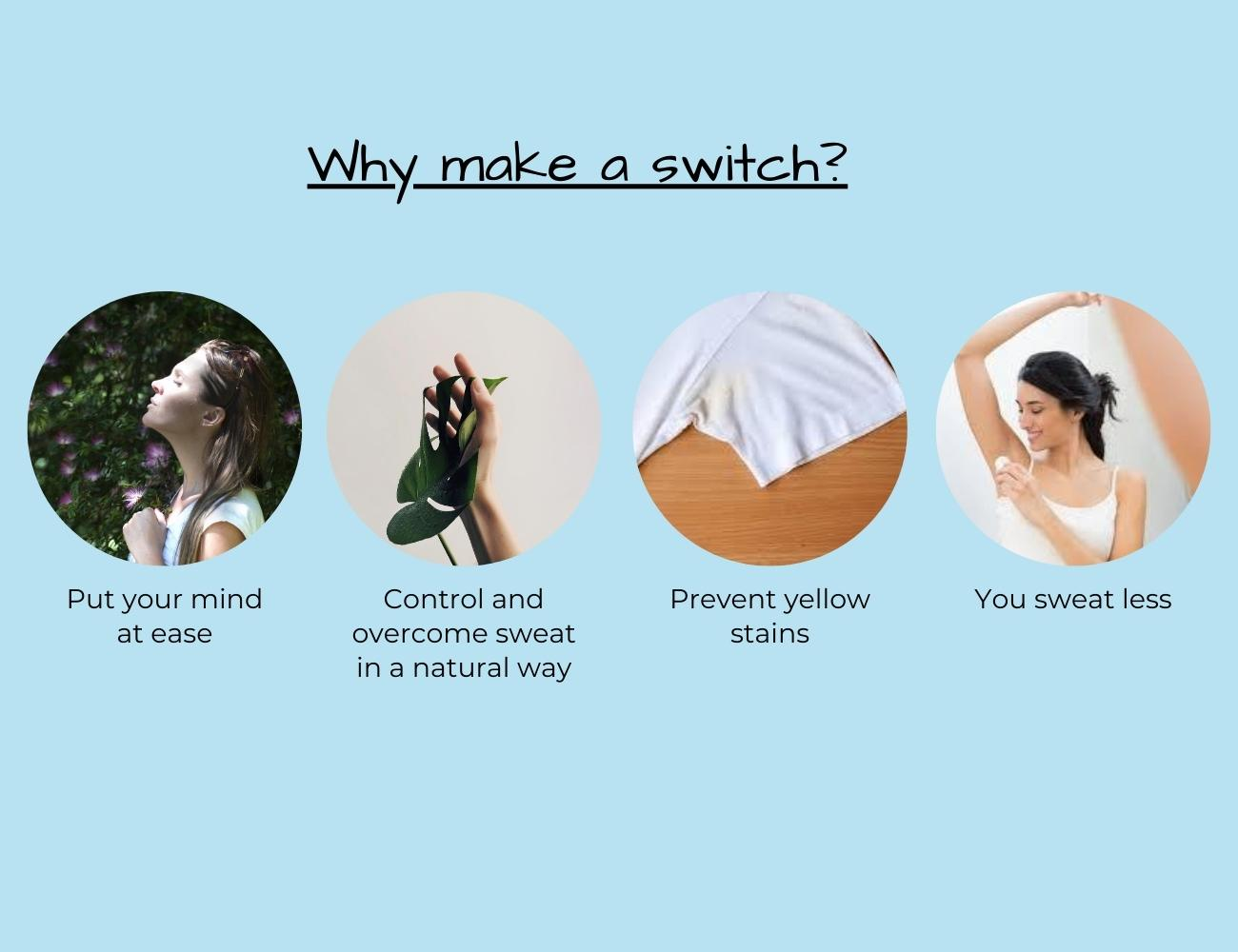 This is an image showing many reasons to make the switch from Aluminium Deodorant to Natural Aluminium free Deodorant.