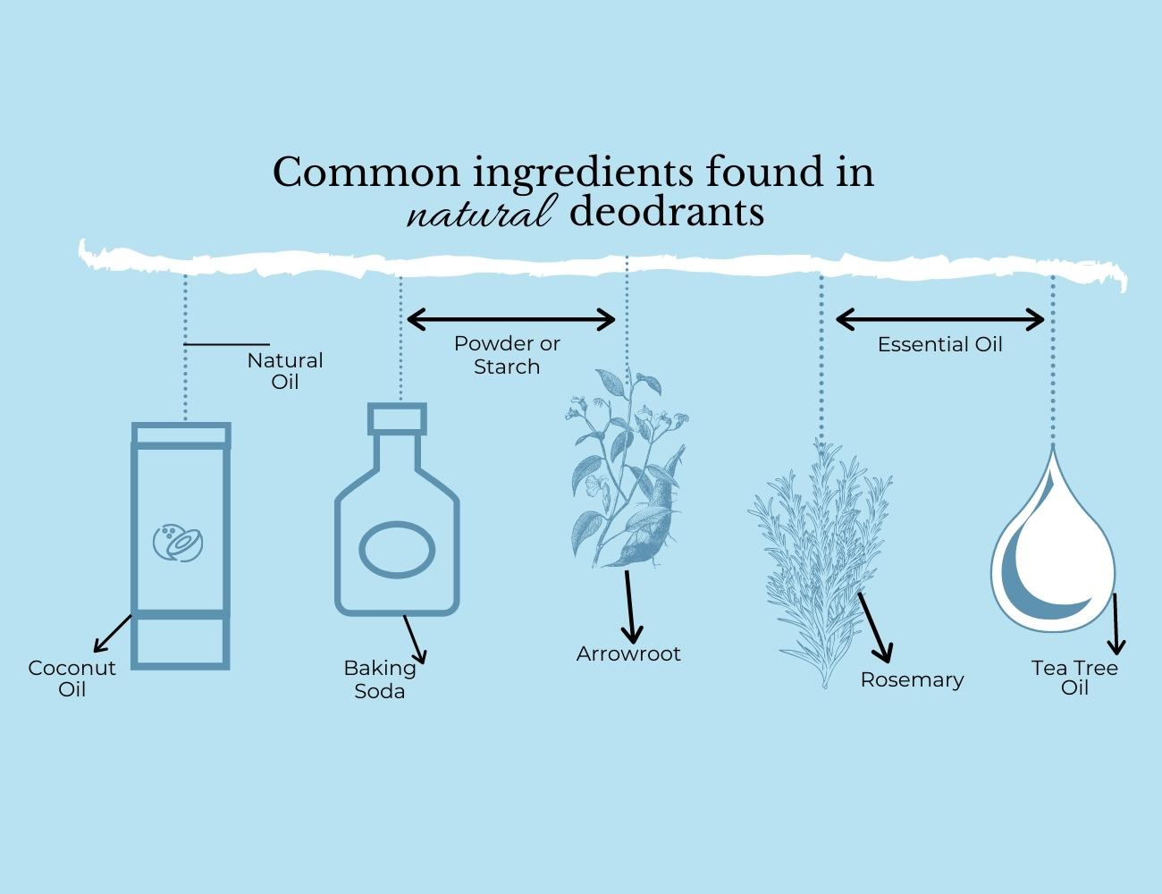 This is an image of different types of ingredients present in Natural Aluminium free Deodorants