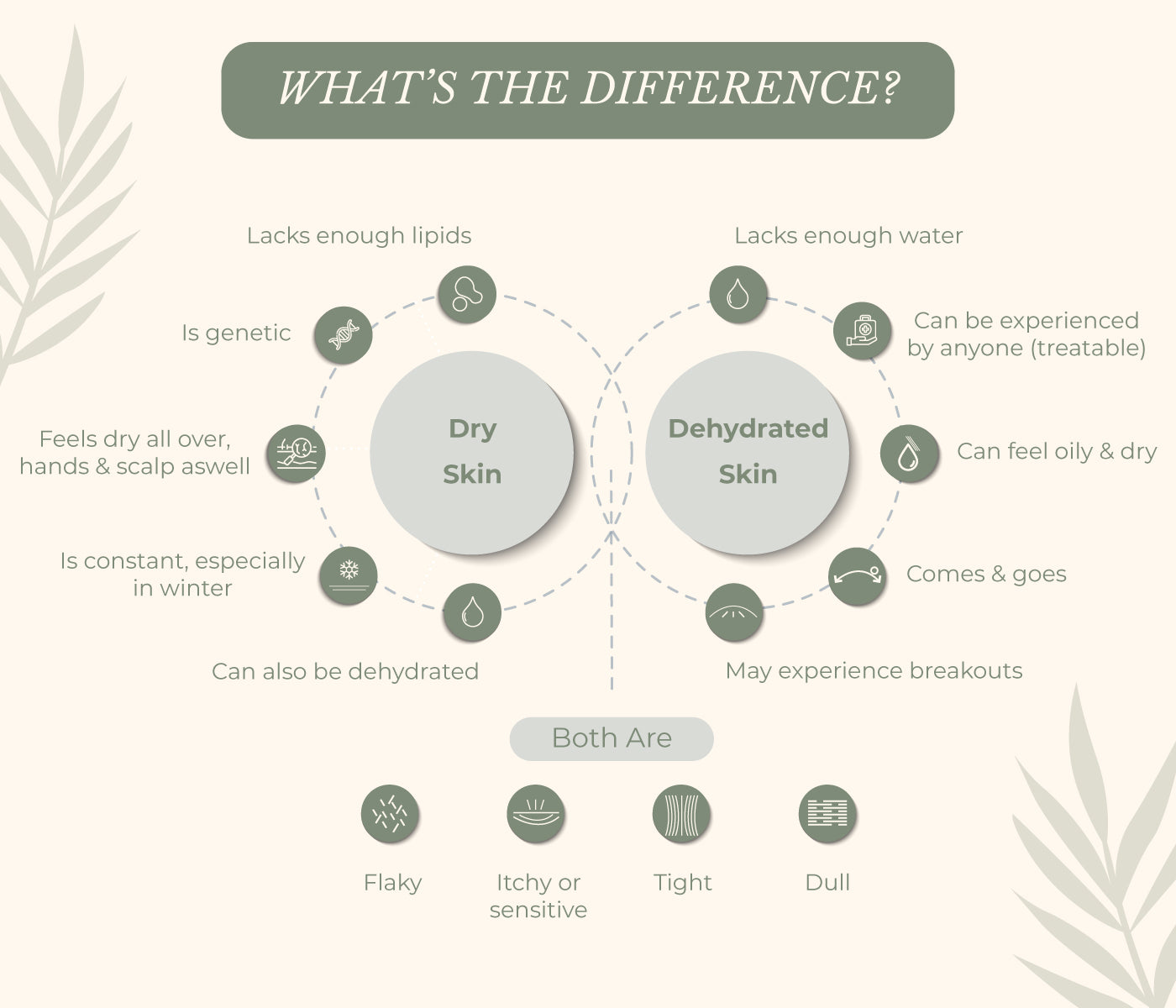 This is an image of difference between dry and dehydrated skin on www.sublimelife.in.