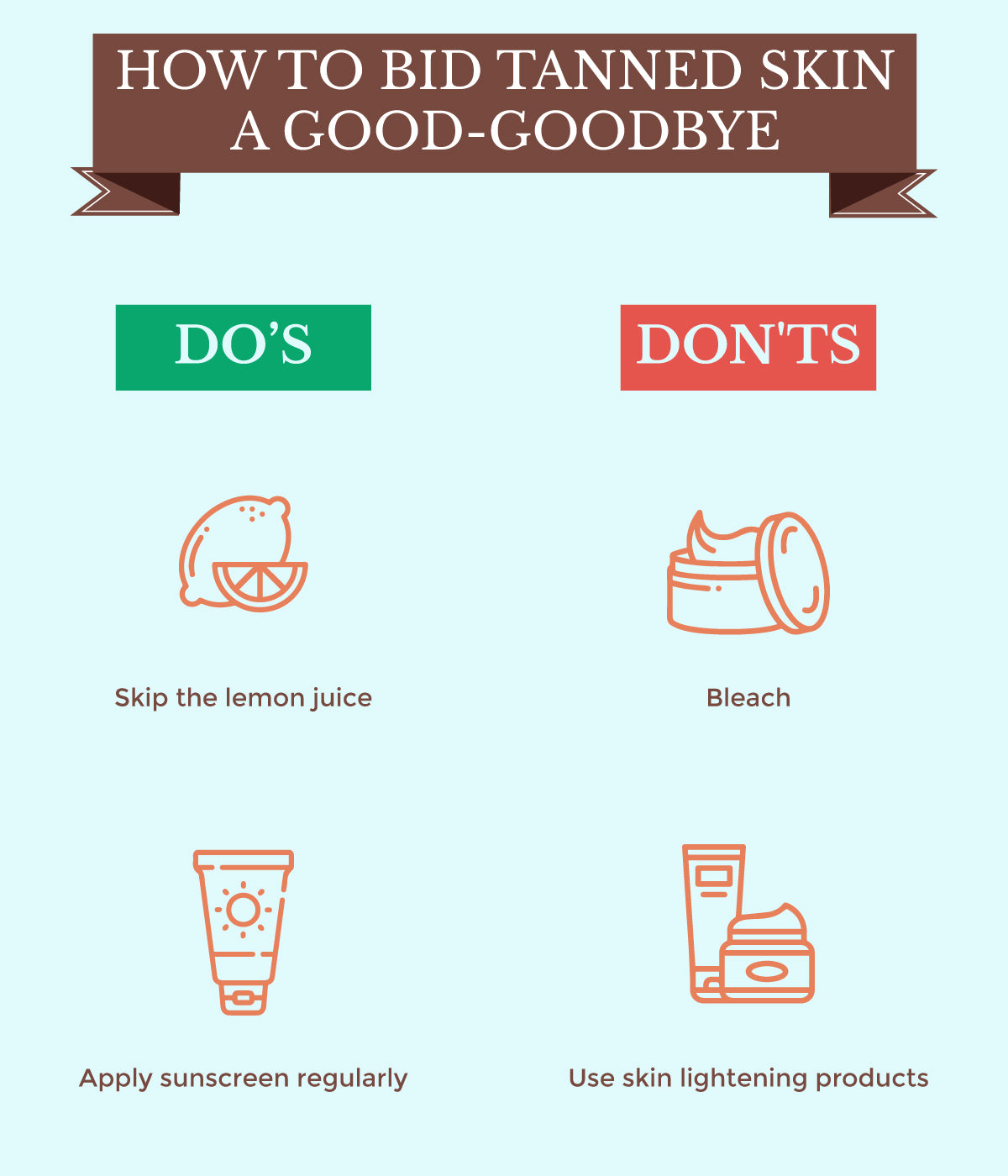This is a image of do's and don'ts of saying goodbye to tanned skin on www.sublimelife.in