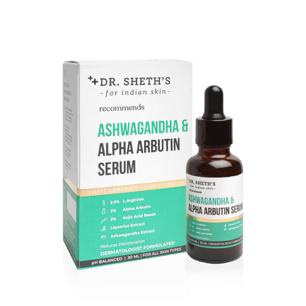 This is an image of Dr Sheth's Ashwagandha & Alpha Arbutin Serum on www.sublimelife.in