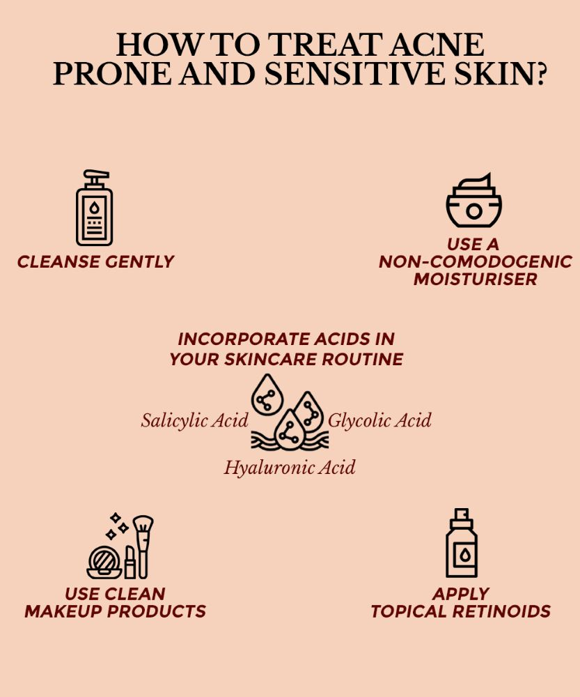 This infographics shows the ways or steps to treat sensitive acne prone skin.