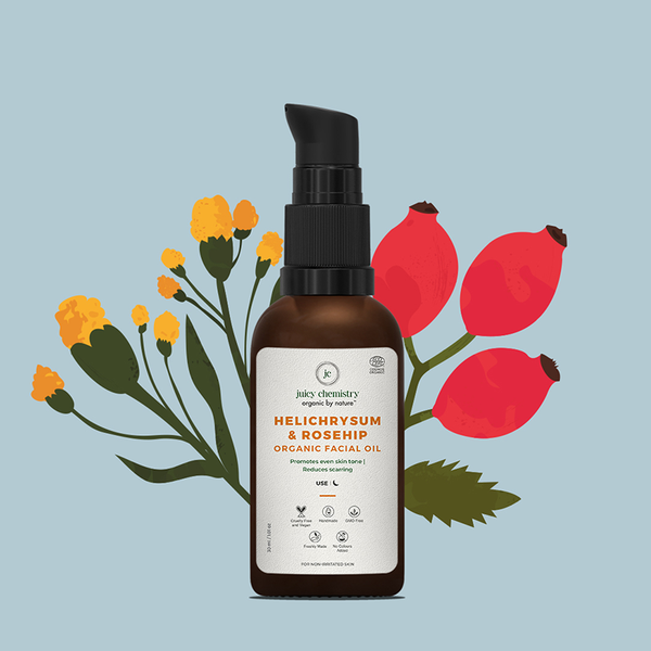 This is an image of Juicy Chemistry Helichrysum & Rosehip-Anti-Scarring & Pigmentation Control Facial Oil on www.sublimelife.in