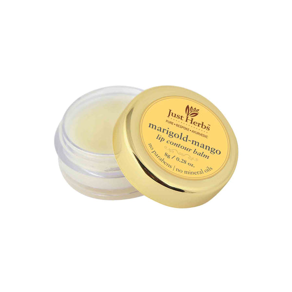 This is an image of Just Herbs Marigold Mango Lip Contour Balm on www.sublimelife.in