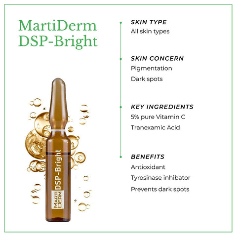 This is an image of MartiDerm DSP Bright skin ampoules with benefits.