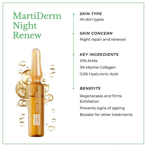 This is an image of MartiDerm Night Renew skin ampoules with benefits.