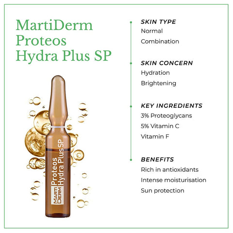 This is an image of MartiDerm Proteos Hydra Plus SP skin ampoules with benefits.