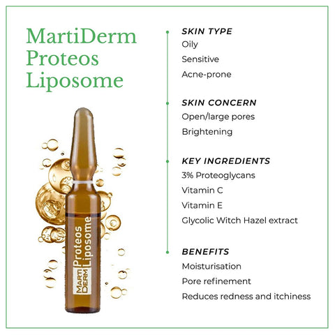 This is an image of MartiDerm Proteos Liposome skin Ampoules with benefits