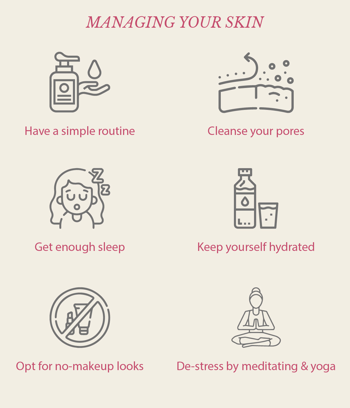 this is an image of how to manage stress and skin on sublimelife.in