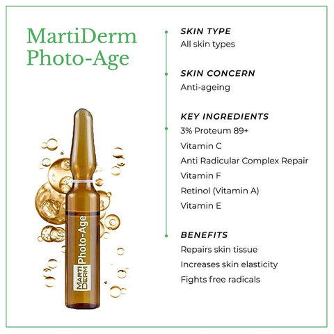 This is an image of MartiDerm Photo- Age skin ampoules with benefits.