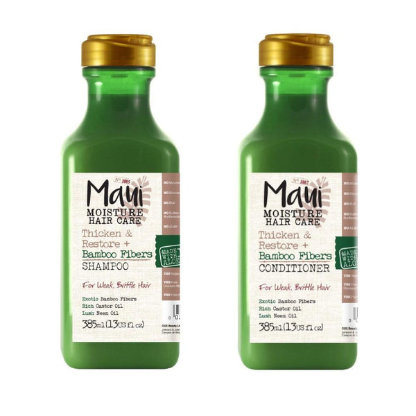 This is an image of Maui Moisture Thicken & Restore + Bamboo Fibers Combo on www.sublimelife.in