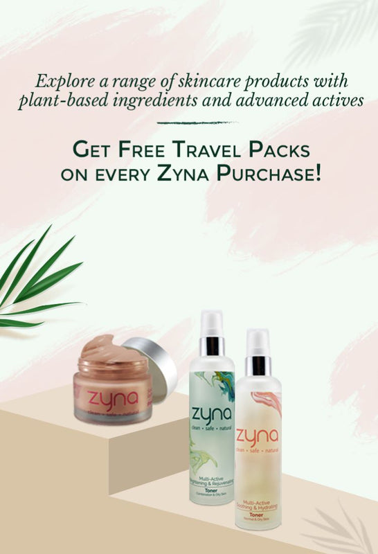 Shop from Zyna and get a travel pack free with every purchase!