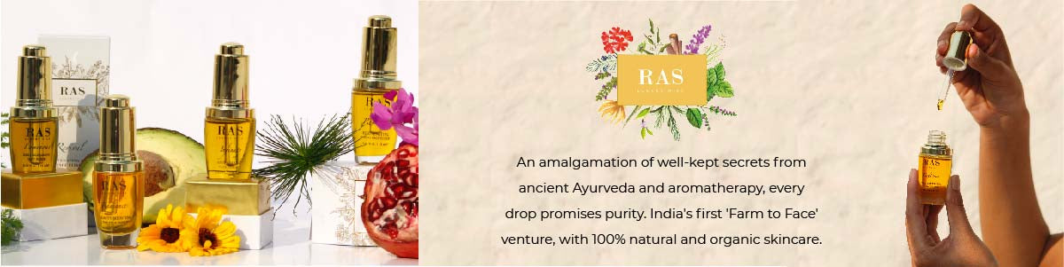 Shop for 100% natural Farm to Face Luxury oils where Aromatherapy meets Ayurveda from Ras Luxury Oils on SublimeLife.in.