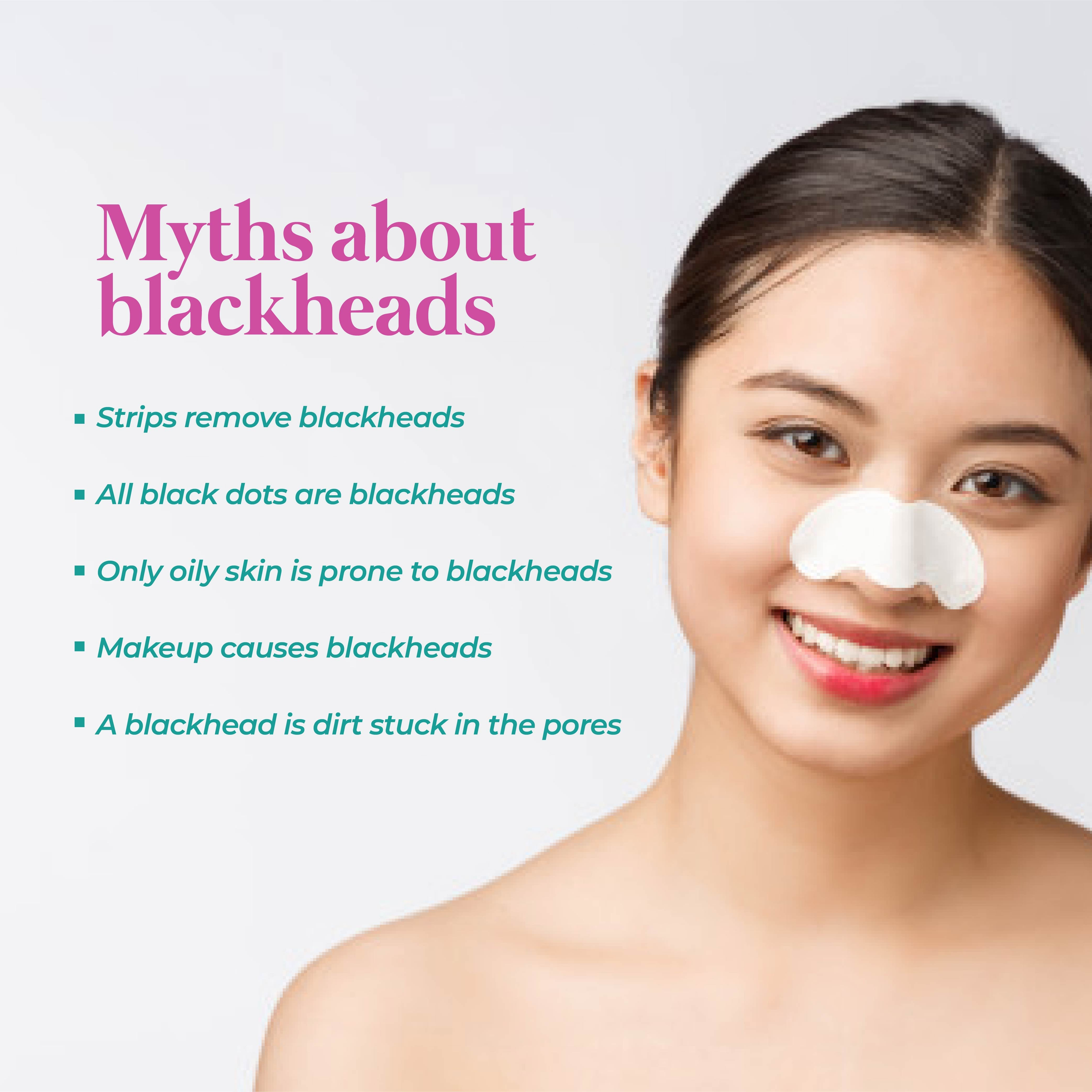 This is an image of the myths about blackheads