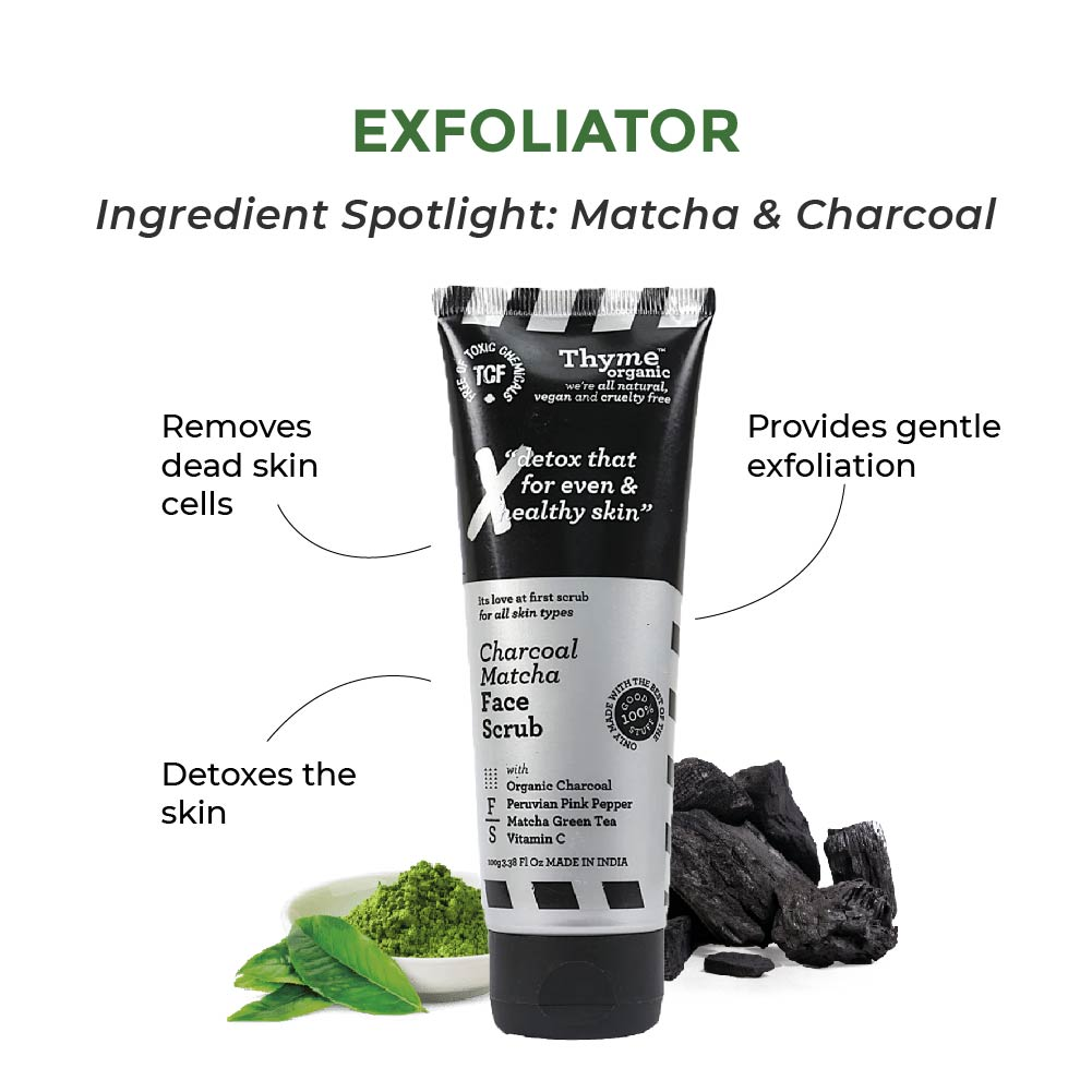 this is image of the THYME ORGANIC CHARCOAL MATCHA FACE SCRUB for acne prone skin on sublimelife.in