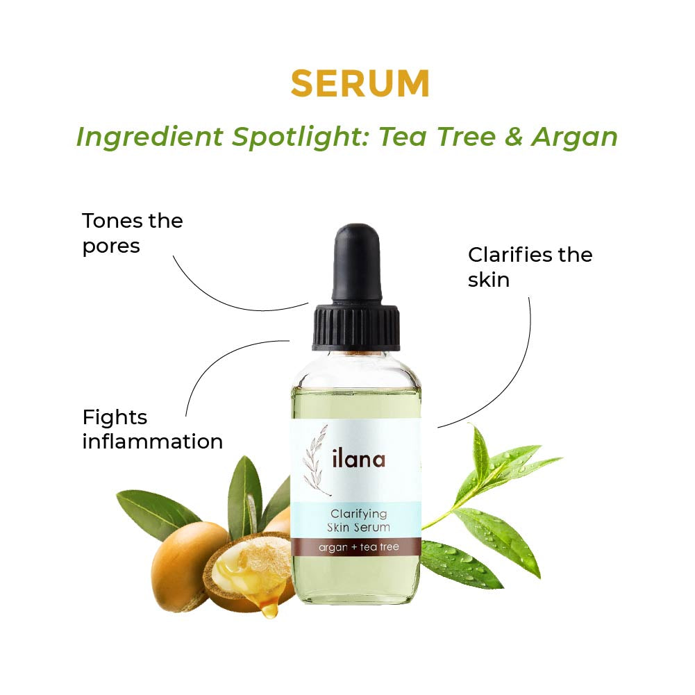 this is an image of the ilana clarifying serum with tea tree and argan for acne prone skin on www.sublimelife.in