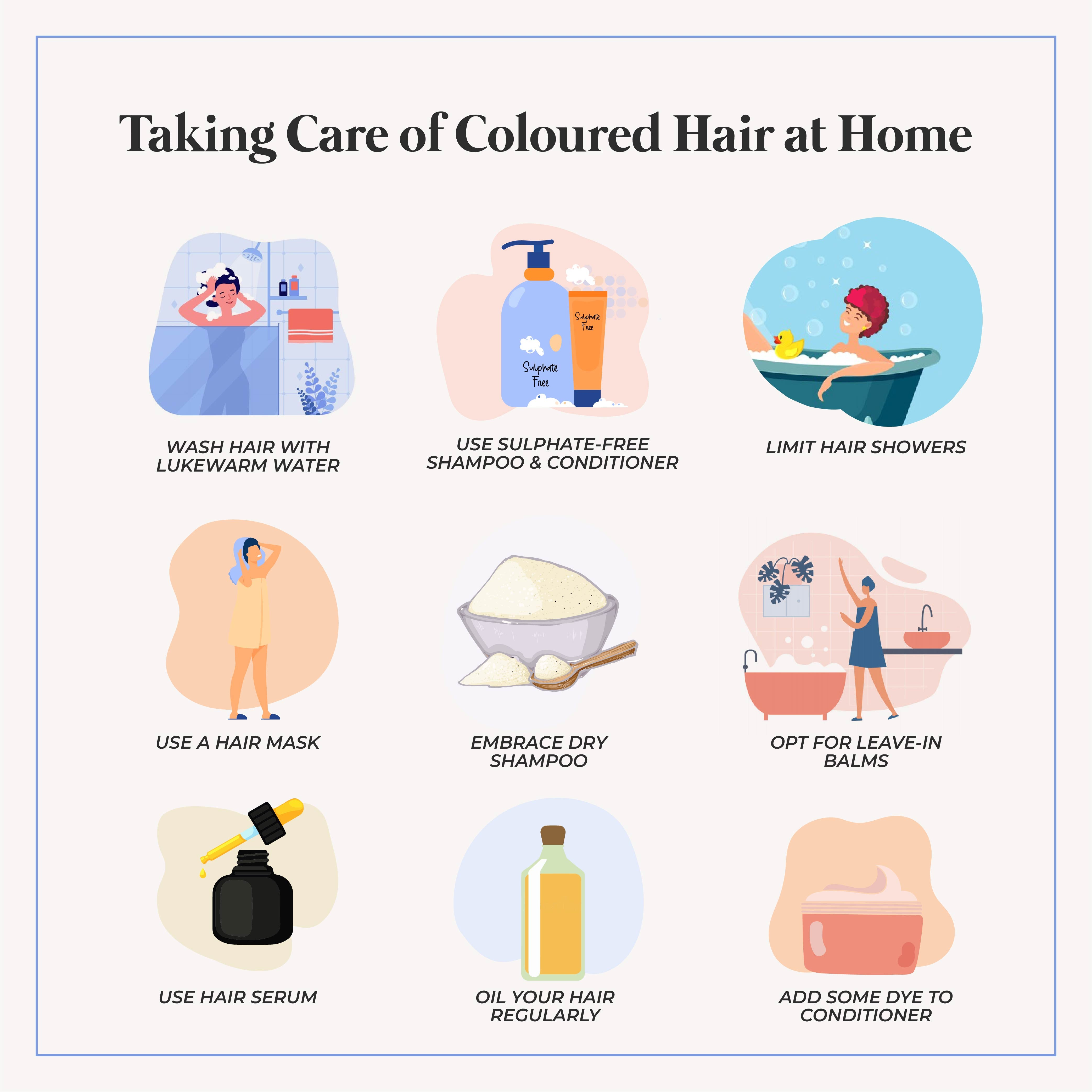This is an image of how to take care of coloured hair at home