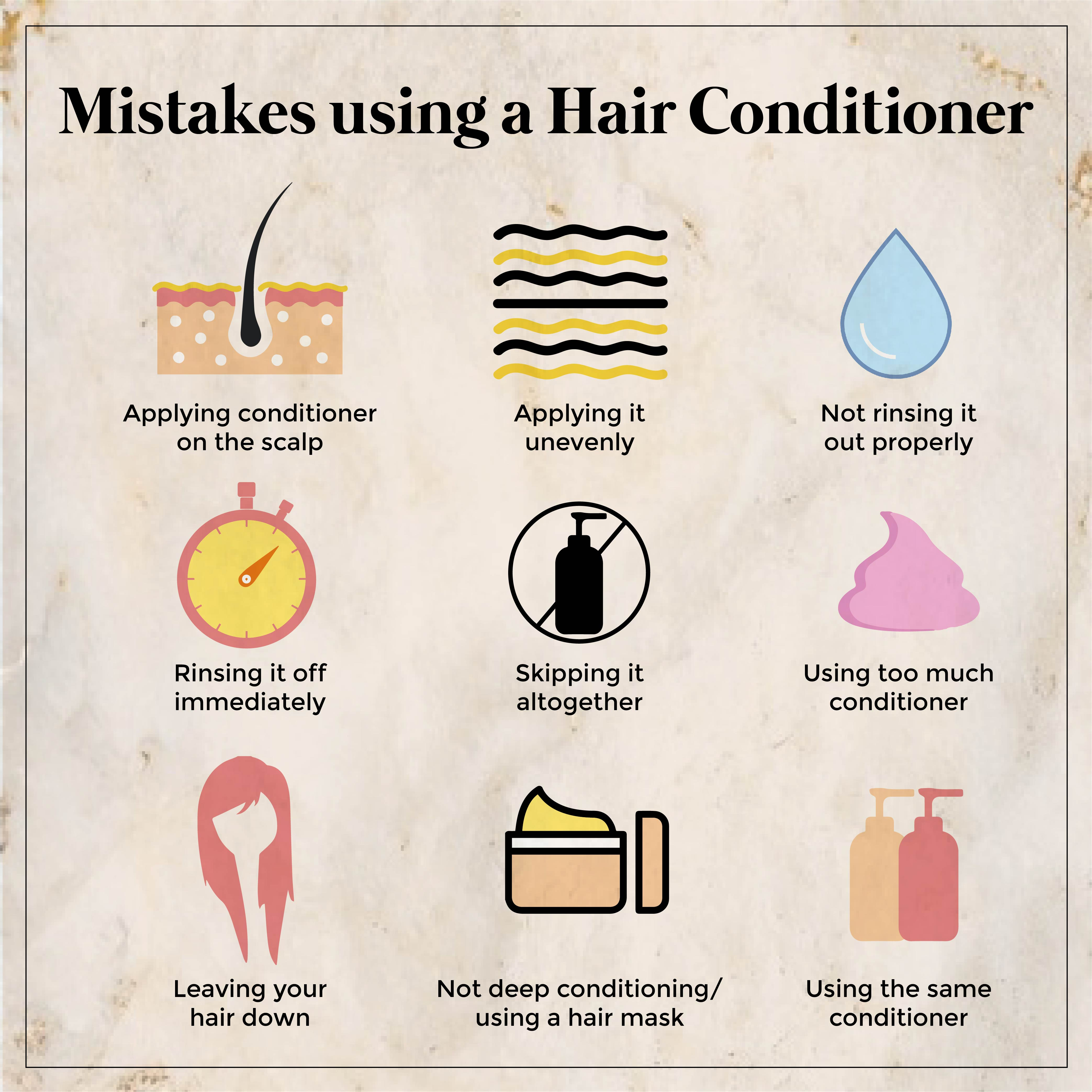 This is an image of Mistakes while using conditioner on www.sublimelife.in