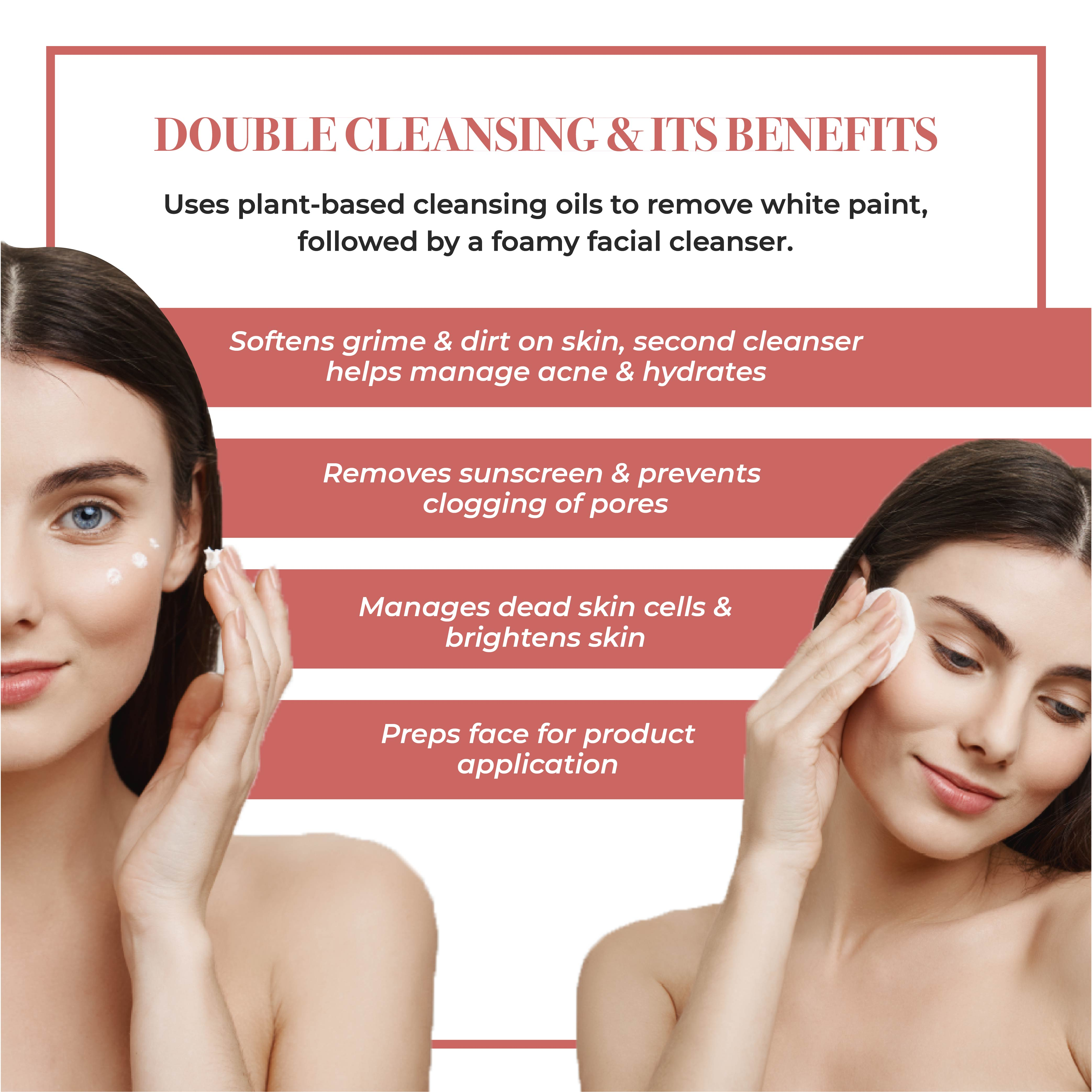 This is an image of what double cleansing is and its benefits.