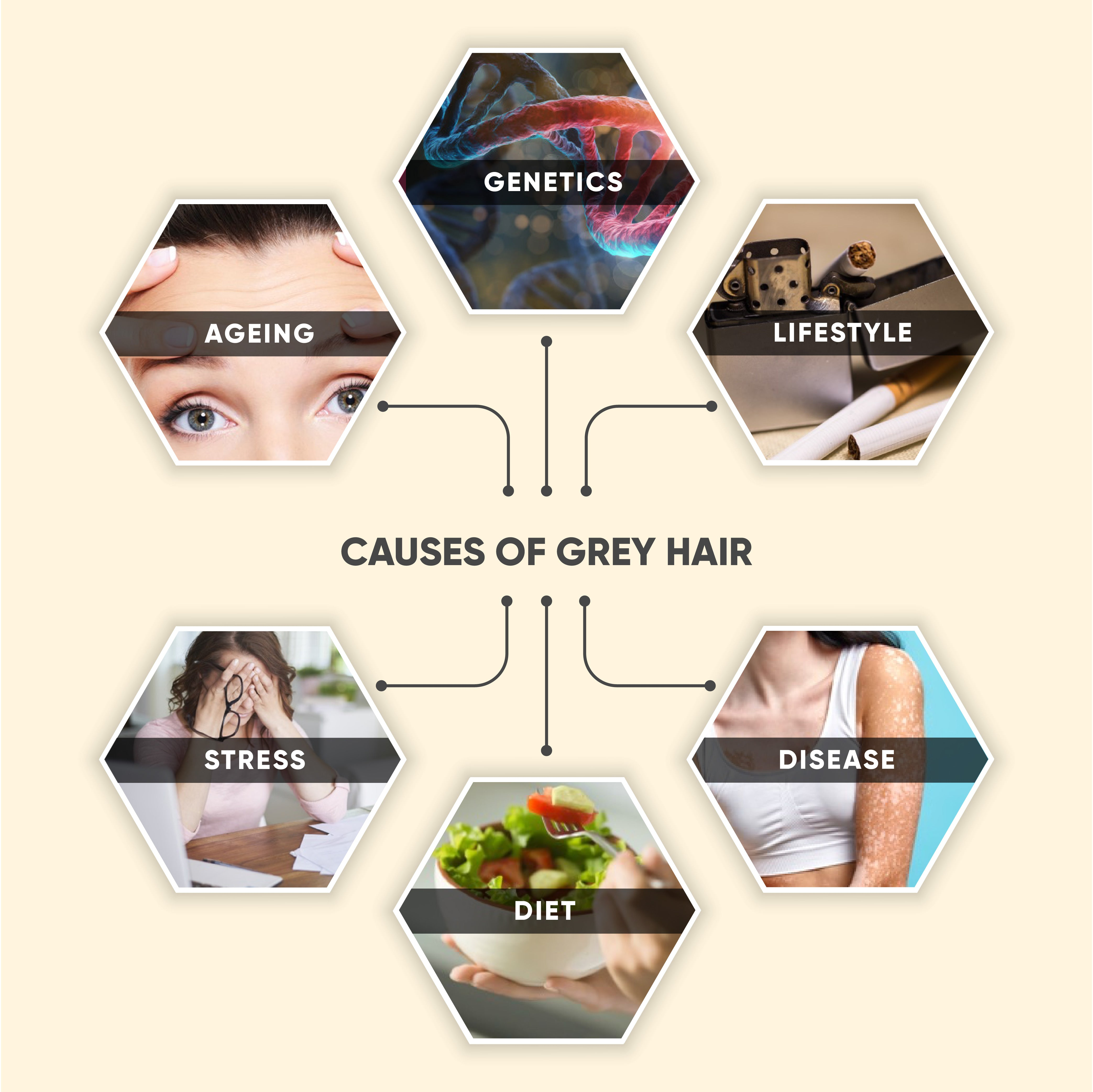 This is an image of causes of Grey Hair on www.sublimelife.in