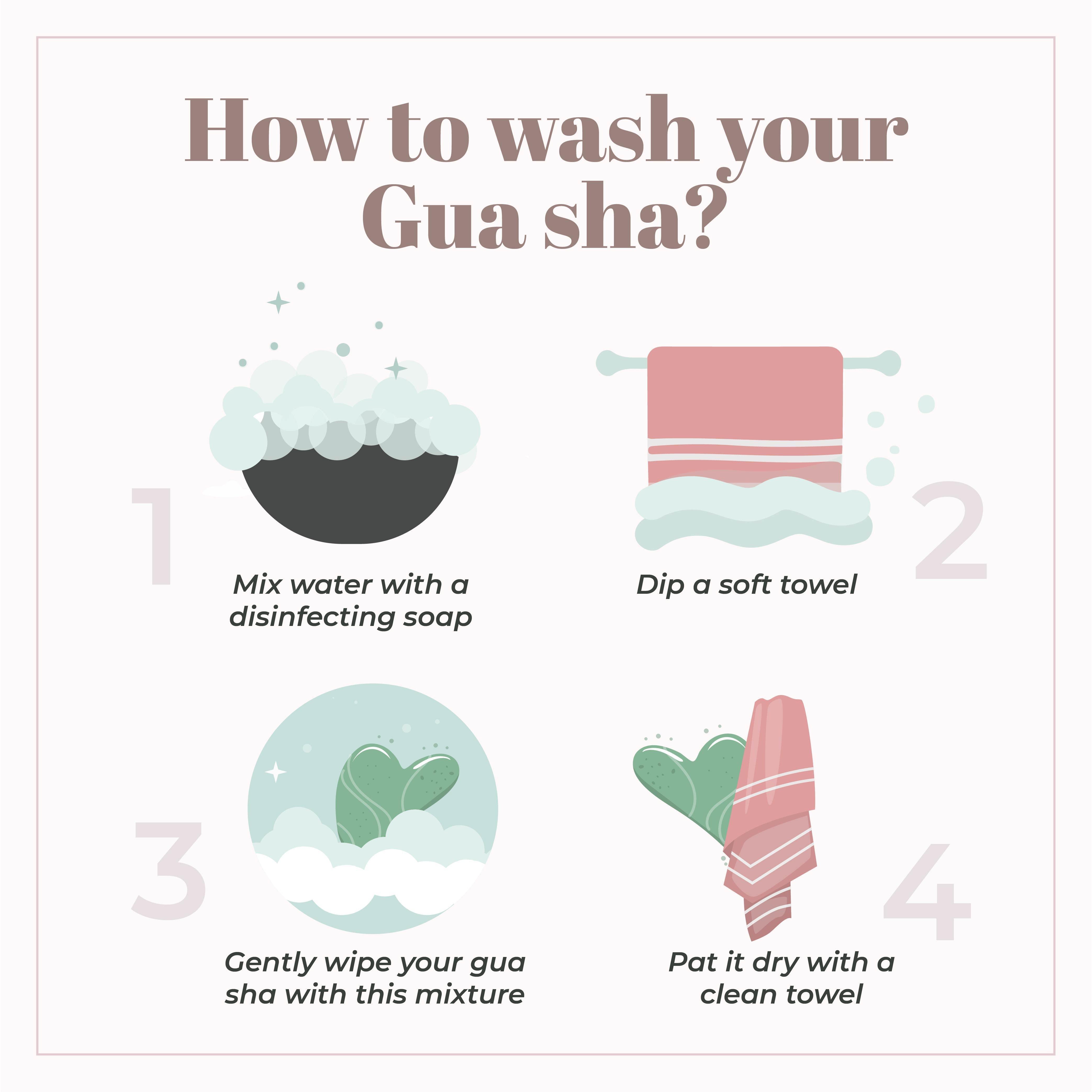 This is an image of how to wash and clean your gua sha