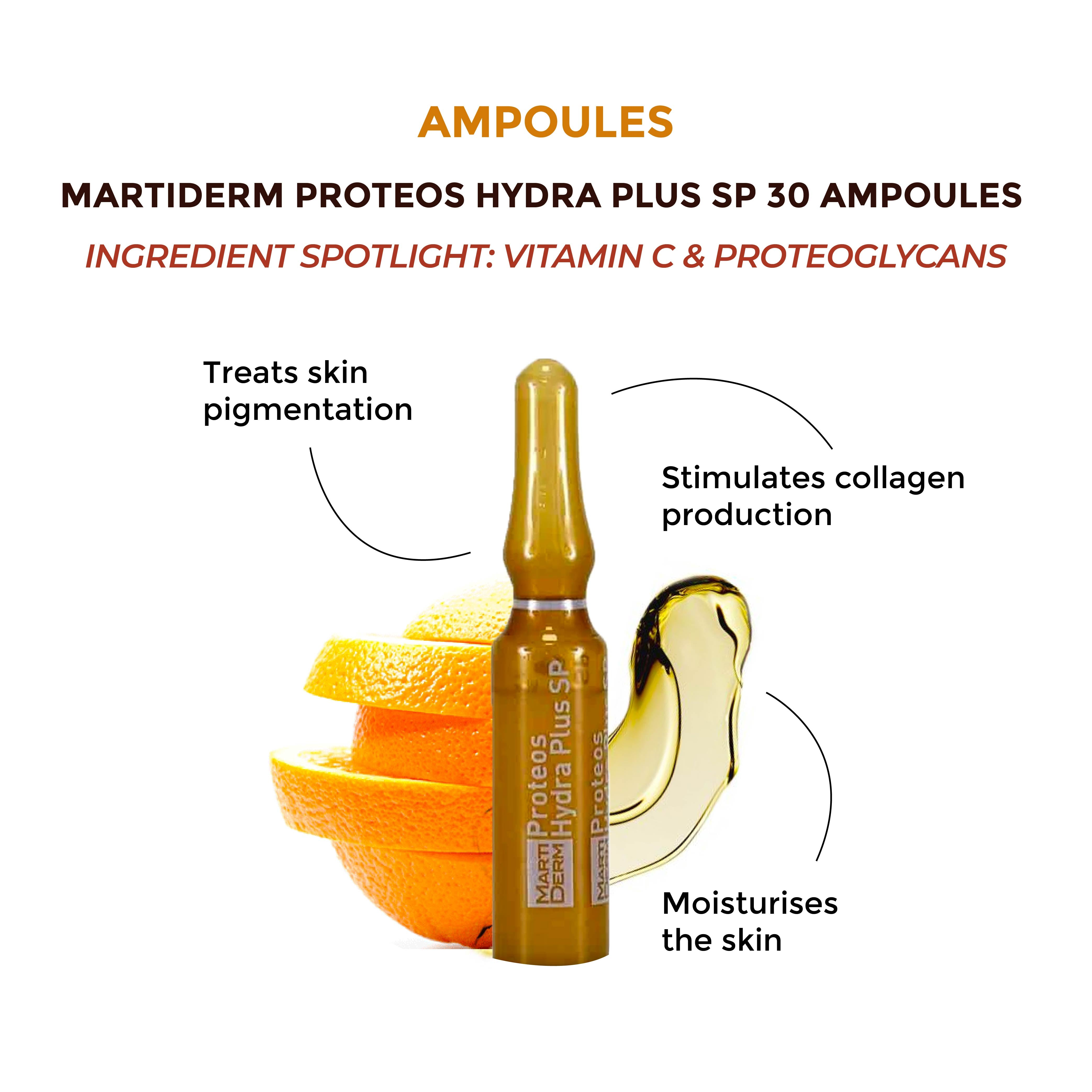 This is an image of the Martiderm Proteos Hydra Plus SP 30 Ampoules on www.sublimelife.in
