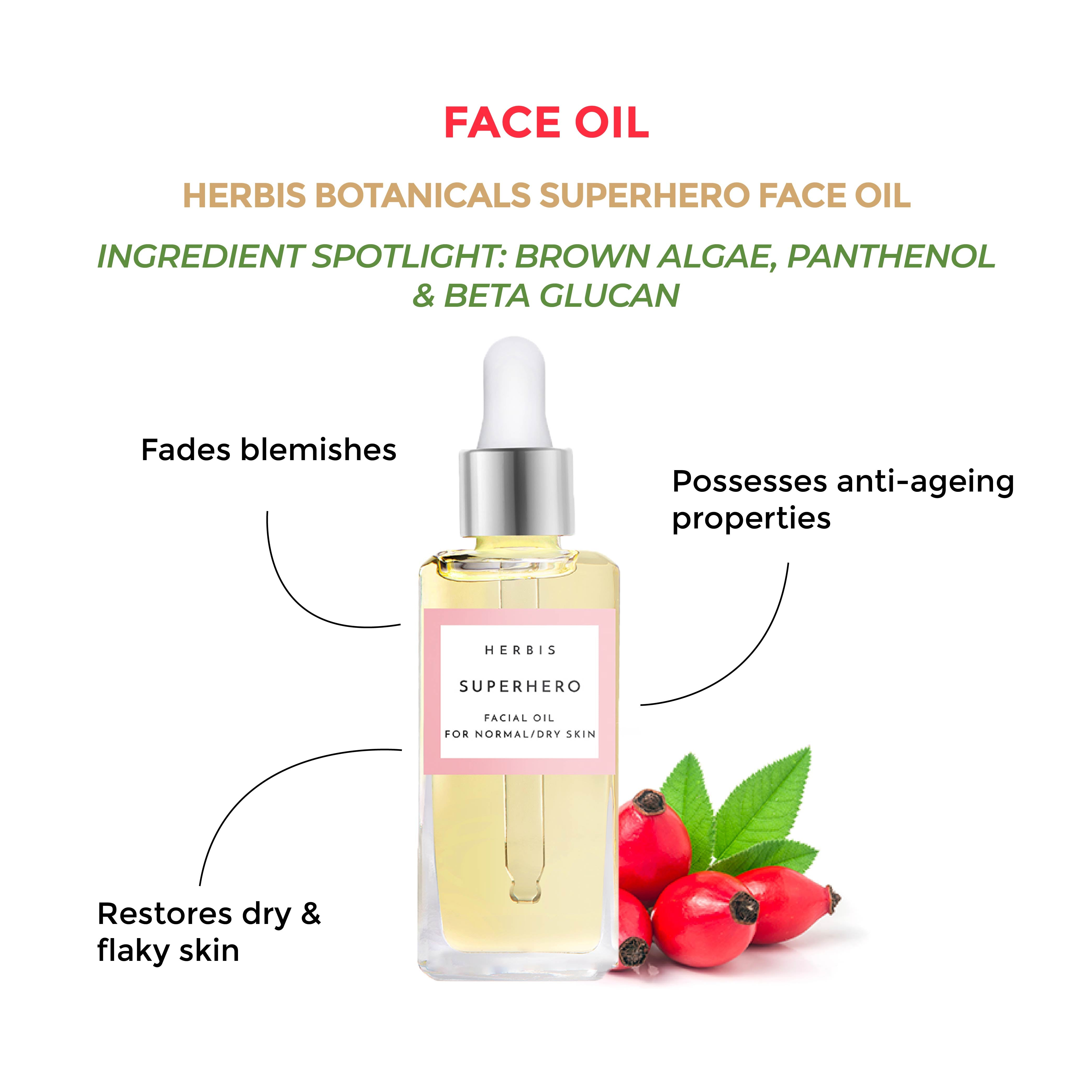 This is an image of the Herbis Botanicals Superhero Face Oil on www.sublimelife.in