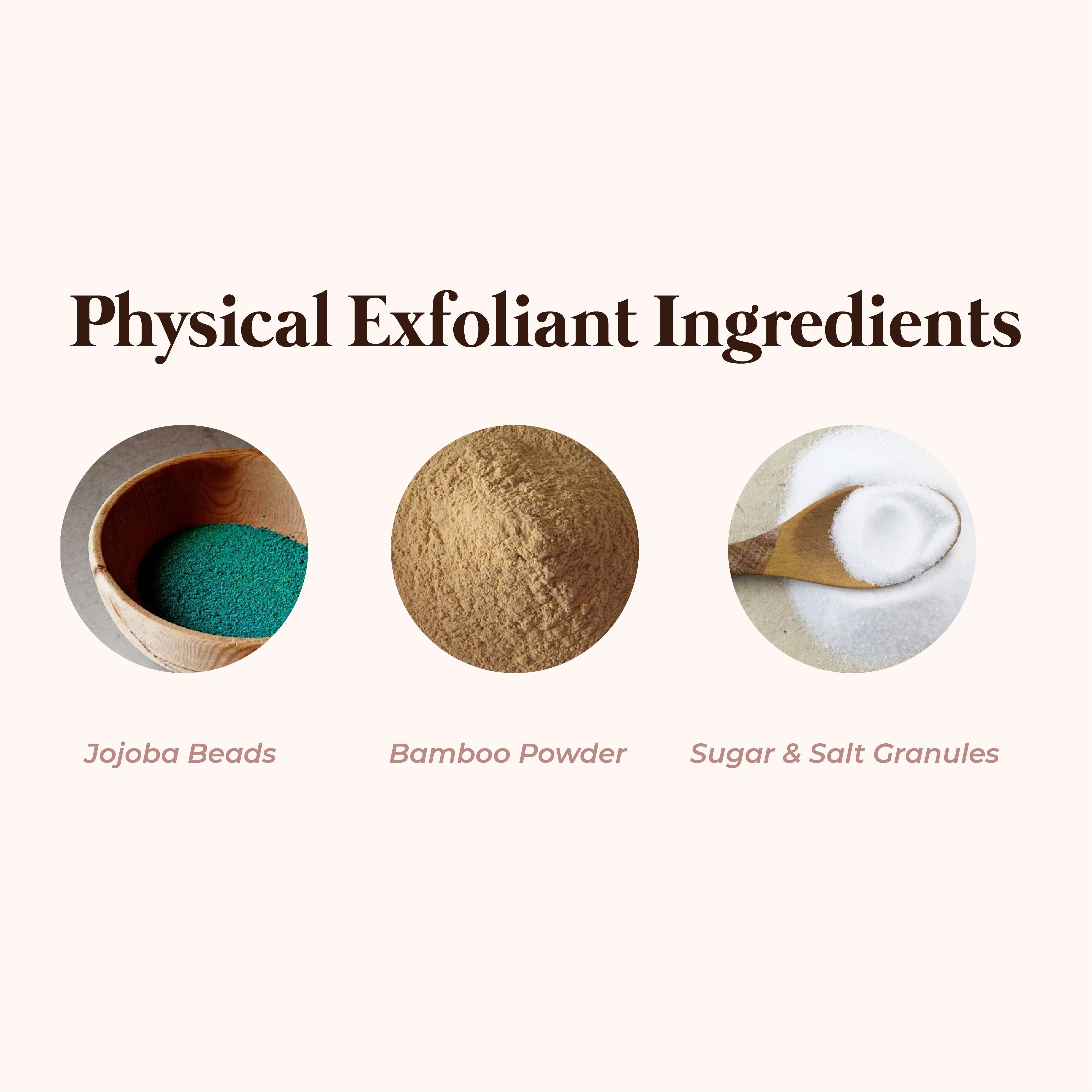 This is an image of the different physical exfoliants on www.sublimelife.in