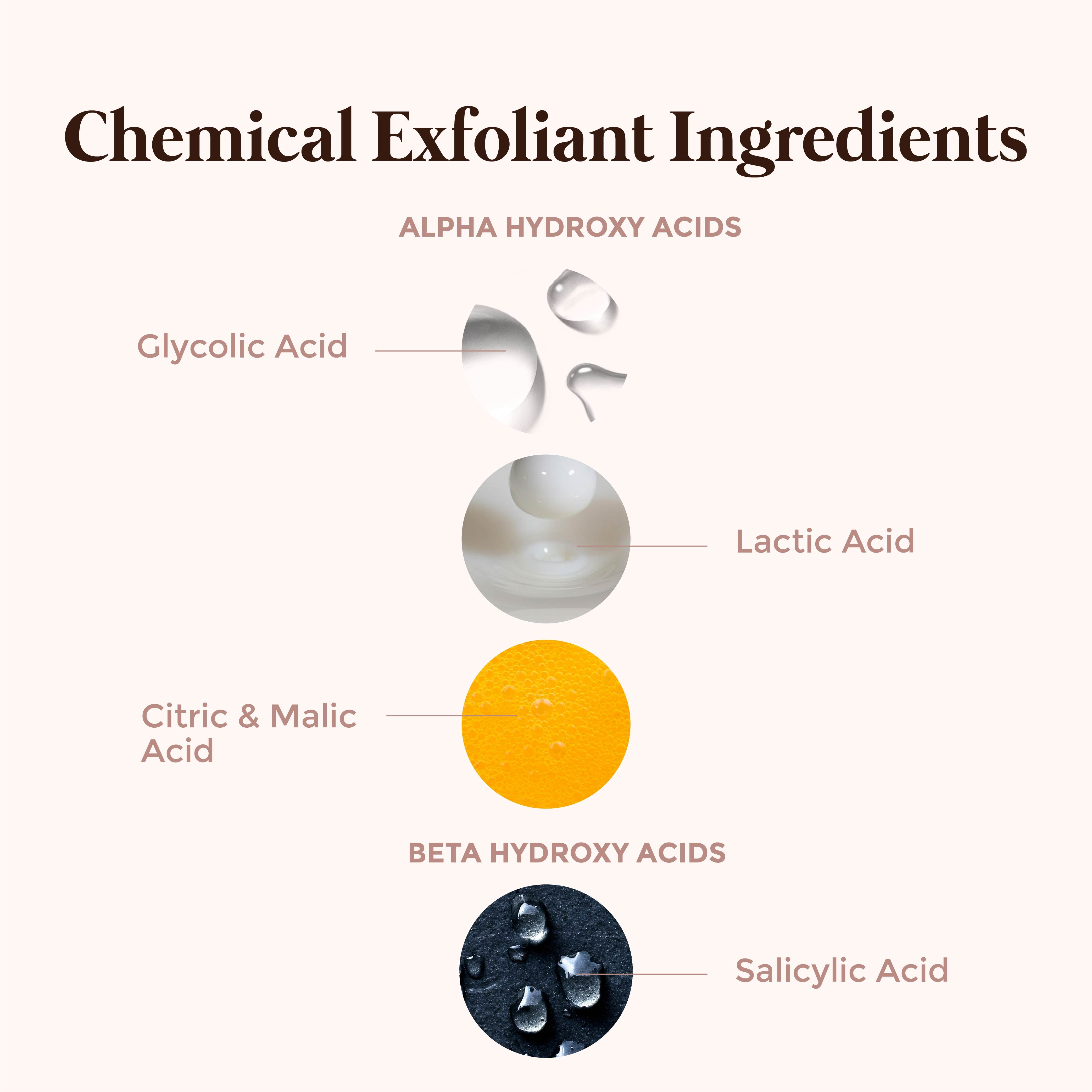 This is an image of the different chemical exfoliators on www.sublimelife.in