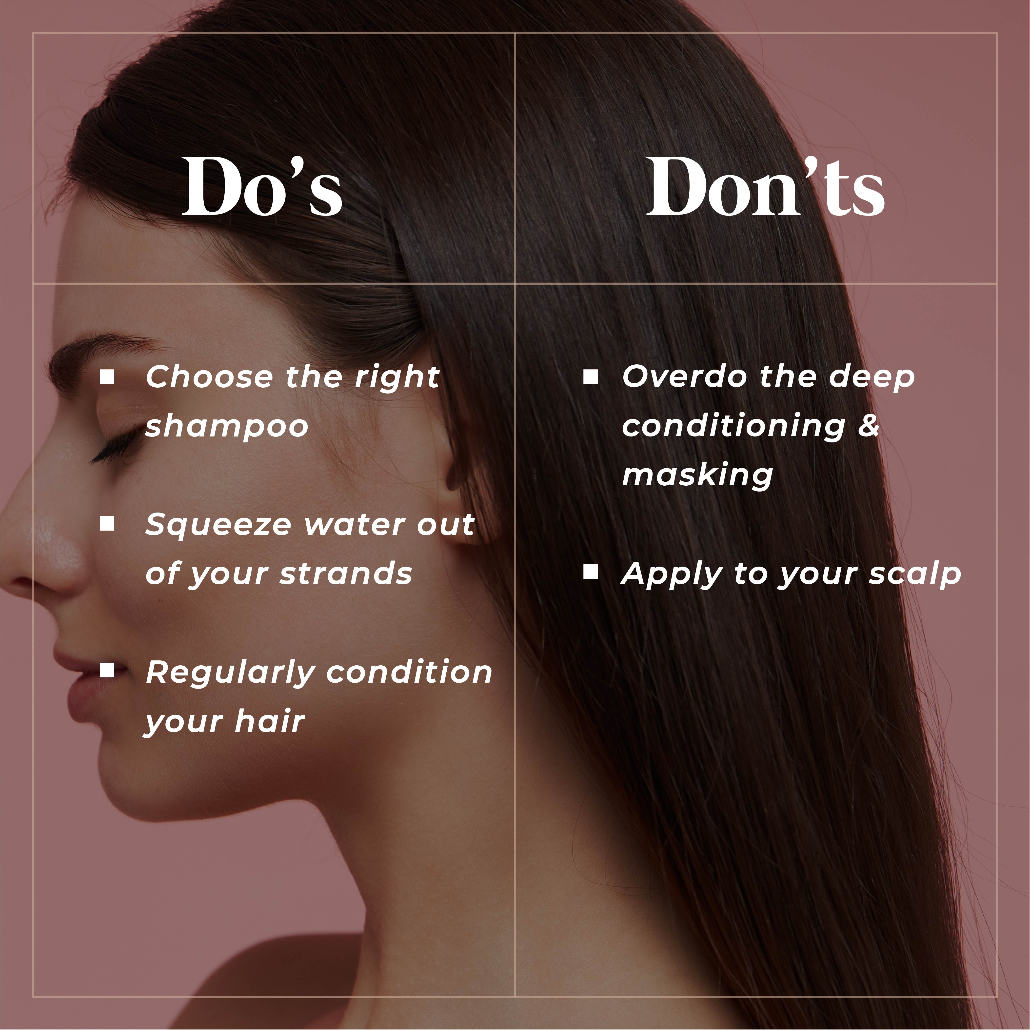 This is an image of the do's and donts of hair conditioner