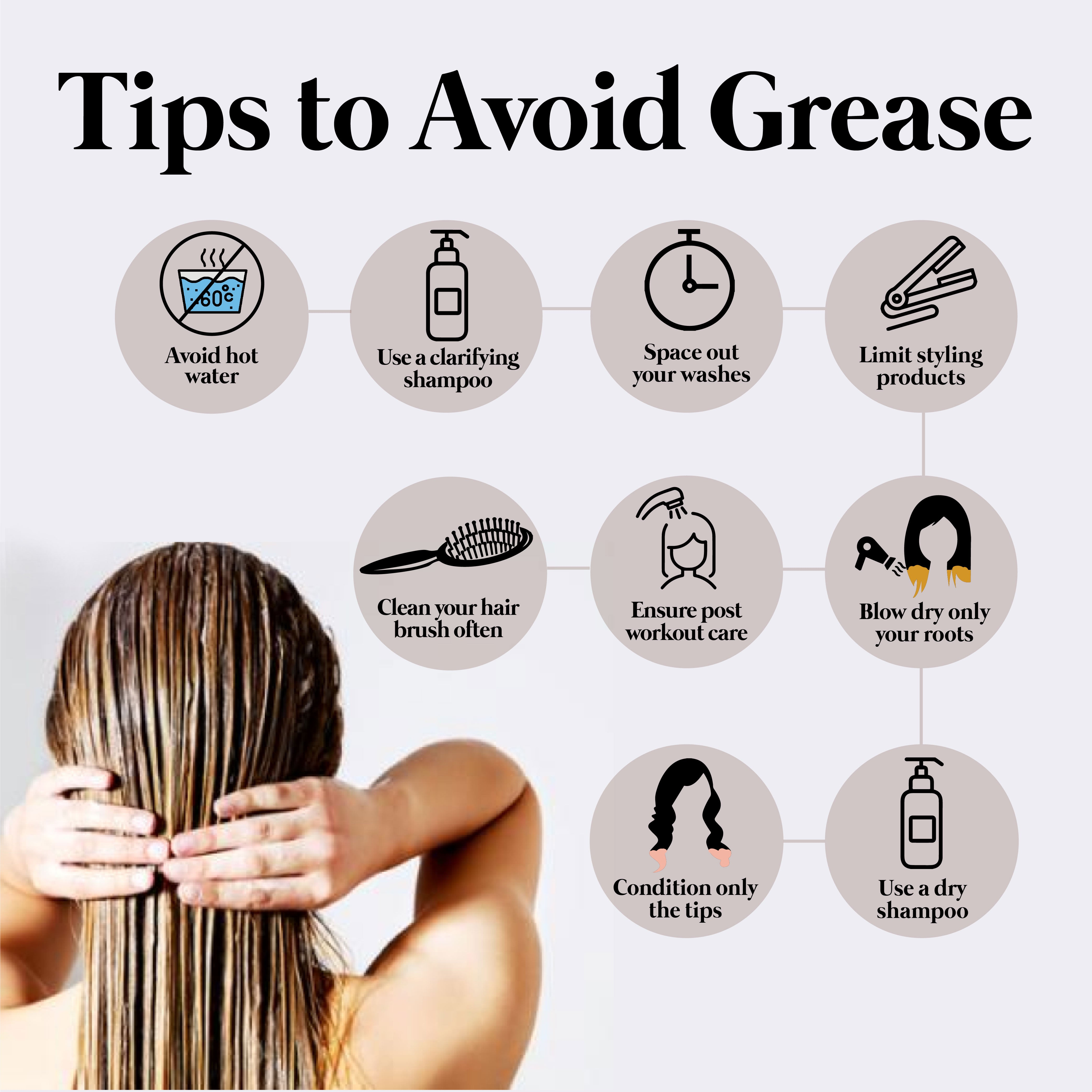 This is an image of How to Avoid Grease in Hair on www.sublimelife.in
