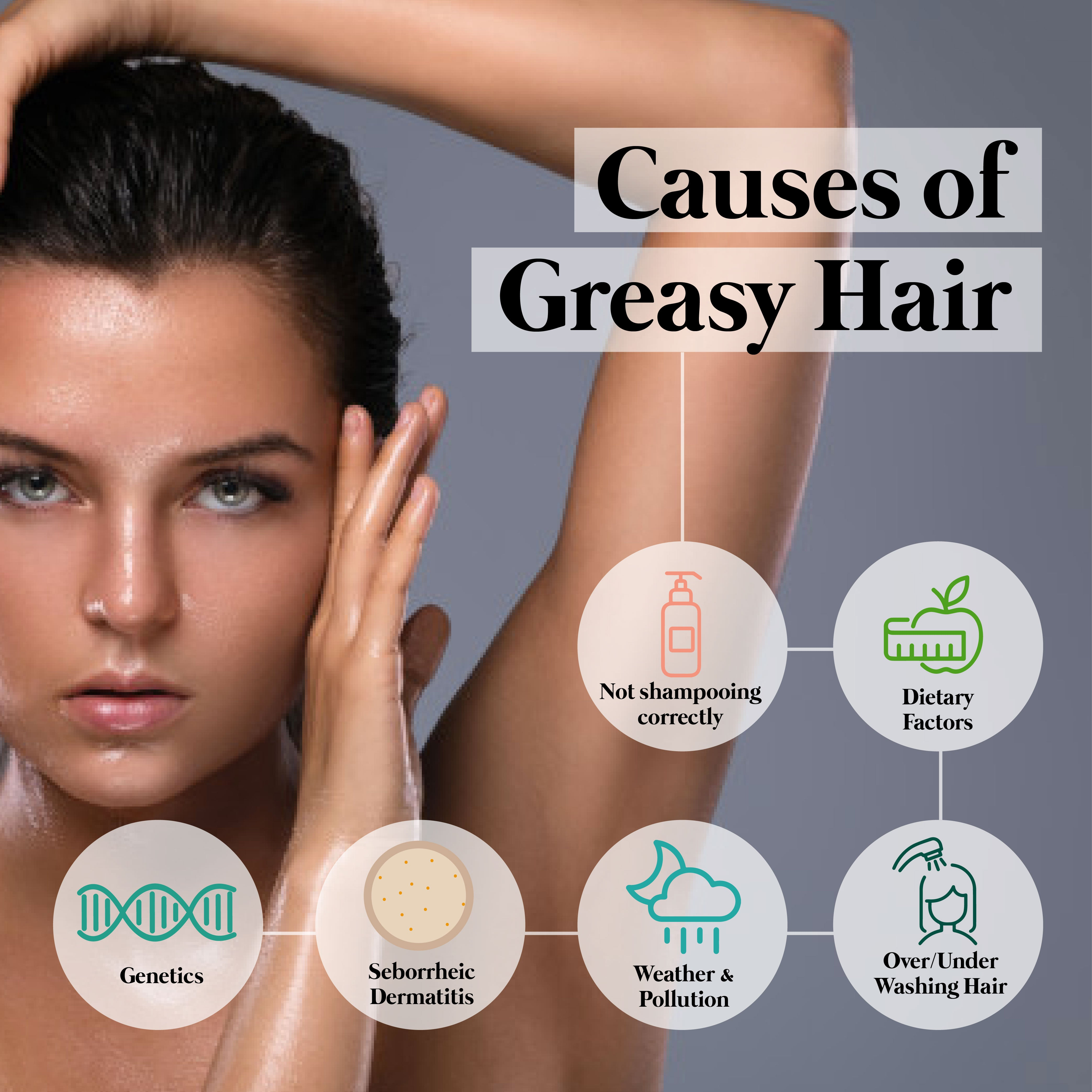 This is an image of Causes of Greasy Hair on www.sublimelife.in