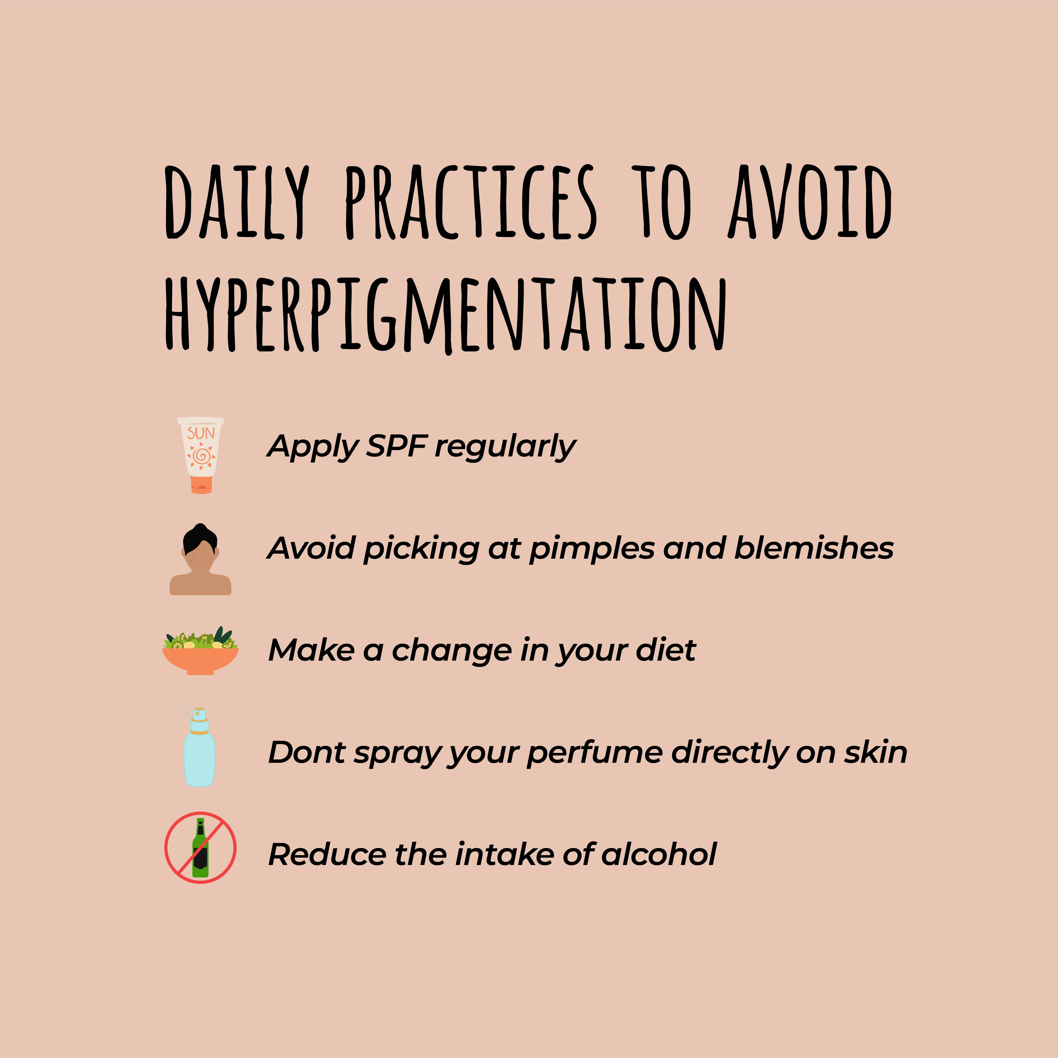 This is an image of daily practices to avoid pigmentation