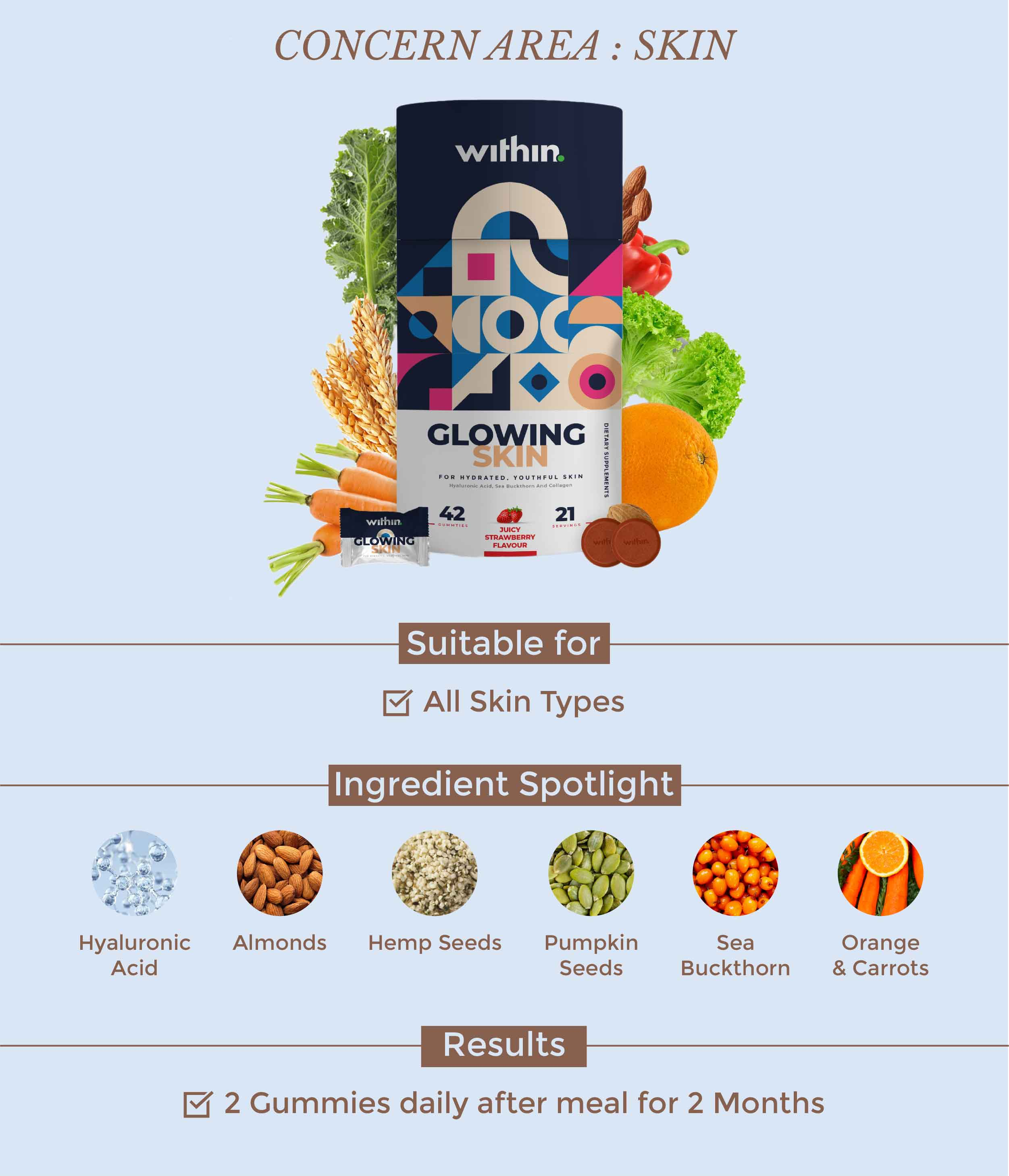 This is an image of the Within Nutrition Glowing Skin Gummies on www.sublimelife.in