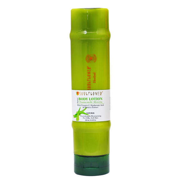 This is an image of Soulflower Herbal Bamboo Aloe Vera Body Lotion with Vitamin C & Hyaluronic Acid on www.sublimelife.in
