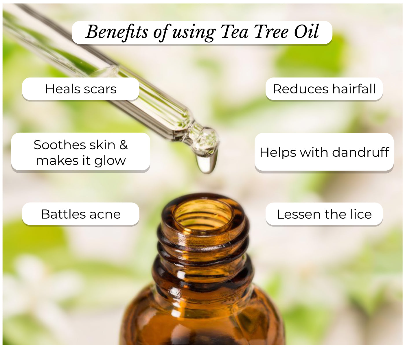 This is an image of the benefits of tea tree oil